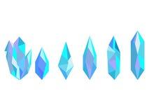 Cristales aislados en el fondo blanco Minerales, elementos del diseño Vector Fotografía de archivo libre de regalías
