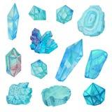 Cristales azules de la acuarela aislados en el fondo blanco ilustración del vector