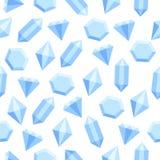 Cristales azules planos simples del diamante en el modelo inconsútil blanco, vector libre illustration