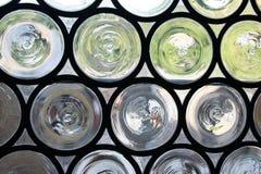 Cristales circulares del vidrio medieval Foto de archivo