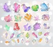 Cristales coloreados bosquejo del garabato Colección de minerales libre illustration