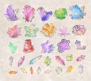 Cristales coloreados bosquejo del garabato Colección de minerales en fondo del vintage stock de ilustración