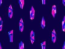Cristales con el modelo inconsútil de la pendiente violeta Minerales, elementos del diseño Vector stock de ilustración