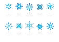 Cristales de la nieve con la reflexión Fotografía de archivo