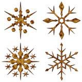 Cristales de la nieve del oro fijados ilustración del vector
