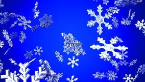 Cristales de la nieve en fondo azul ilustración del vector