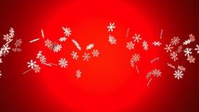 Cristales de la nieve en fondo rojo ilustración del vector
