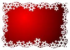 Cristales de la nieve sobre rojo Imagen de archivo