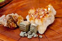 Cristales de la pirita, del citrine y de Honey Calcite - en el tocón de árbol de madera Fotos de archivo libres de regalías