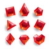 Cristales de las formas del rojo de la historieta diversos stock de ilustración