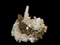 Cristales de un pirit y de un cuarzo Imágenes de archivo libres de regalías