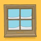 Cristales de ventana con nieve stock de ilustración