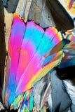 Cristales del azúcar en luz polarizada Imágenes de archivo libres de regalías