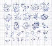 Cristales del bosquejo de la pluma del garabato Colección de minerales en el papel alineado Ilustración del vector stock de ilustración