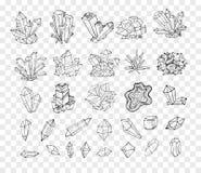 Cristales del bosquejo del garabato Colección de minerales libre illustration