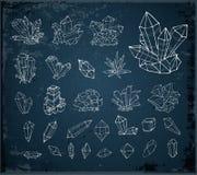 Cristales del bosquejo del garabato Colección de minerales en fondo azul marino libre illustration