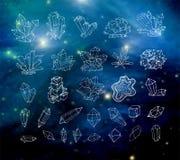 Cristales del bosquejo del garabato Colección de minerales en fondo borroso oscuridad Elementos de esta imagen equipados por la N stock de ilustración