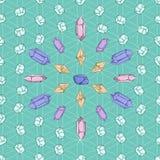 Cristales y diamantes en modelo de rejilla wiccan libre illustration