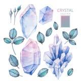 Cristales y hojas de la acuarela stock de ilustración