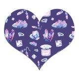 Cristales y joyería de la acuarela para las muchachas en el corazón, el día de tarjeta del día de San Valentín stock de ilustración