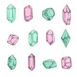 Cristales y mano de los diamantes dibujada ilustración del vector