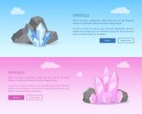 Cristales y minerales entre Grey Stones Realistic ilustración del vector