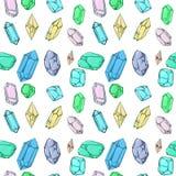 Cristales y modelo de los diamantes stock de ilustración