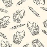 Cristales y modelo inconsútil del boho de las plumas Imagen del vector stock de ilustración