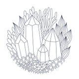 Cristales y plantas fantásticas ilustración del vector