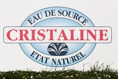 Cristaline water logo on a wall Royalty Free Stock Image