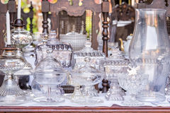 Cristalleria bianca antica d'annata Fotografia Stock