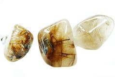 Cristalli geologici di geode ctystal del quarzo della roccia di Rutilated Fotografia Stock Libera da Diritti