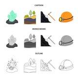 Cristalli, vena di carbone, piccone, casco con una lanterna Icone stabilite della raccolta della miniera nel fumetto, profilo, ve Fotografia Stock
