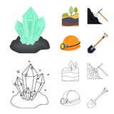 Cristalli, vena di carbone, piccone, casco con una lanterna Icone stabilite della raccolta della miniera nel fumetto, simbolo di  Fotografia Stock