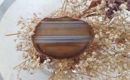 Cristallo dell'agata di Brown Fotografia Stock Libera da Diritti