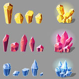 Cristals set cartoon. Set of magic crystals or minerals cartoon style on gray background, you can simply regroup elements, vector Stock Image