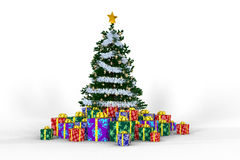 Cristamas tree and gift boxes on a white backgroun. D. Happy New Year and Merry Christmas Stock Photos
