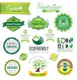 Cristas frescas da exploração agrícola biológica e natural, ícones Imagens de Stock Royalty Free