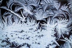 Cristaux de glace givrés d'hiver sur le verre Photographie stock libre de droits