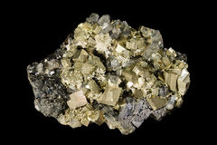 Cristaux de minerai de pyrite et de sphalérite Photo stock