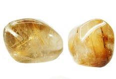 Cristaux géologiques de géode ctystal de quartz de roche de Rutilated Photos stock