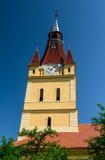 Cristian fortificó la torre de iglesia sajona. Transilvania, Rumania Fotografía de archivo libre de regalías