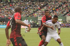 Cristian Higuita. Deigo Fight for the ball 4,12,15 at Providence Park royalty free stock images