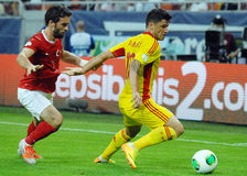 Cristian Tanase and Gokhan Gonul players in Romania-Turkey World Cup Qualifier Game Stock Photography