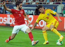 Cristian Tanase and Gokhan Gonul players in Romania-Turkey World Cup Qualifier Game Stock Photos