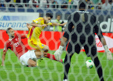Cristian Tanase and Omer Toprak in Romania-Turkey World Cup Qualifier Game Stock Image