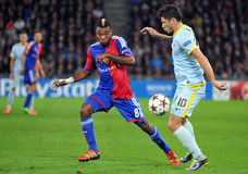 Cristian Tanase and Serey Die pictured during UEFA Champions League game Royalty Free Stock Image