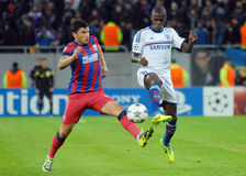 Cristian Tanase of Steaua and Ramires of Chelsea Stock Images