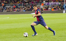 Cristian Tello of FC Barcelona. BARCELONA - APRIL 6: Cristian Tello in action at Spanish league match between FC Barcelona and RDC Mallorca, final score 5-0, on Royalty Free Stock Images