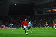 Cristiano Ronaldo. Ronaldo (Best Player in the World - FIFA 2009) with the ball, soon to qualify to the 2009 UEFA Champions League Semi-Final in Porto, Portugal Stock Photo